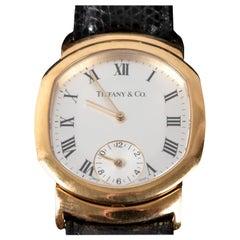 18-Karat Yellow Gold Tiffany & Co. Dual-Time Tonneau-Shaped Wristwatch
