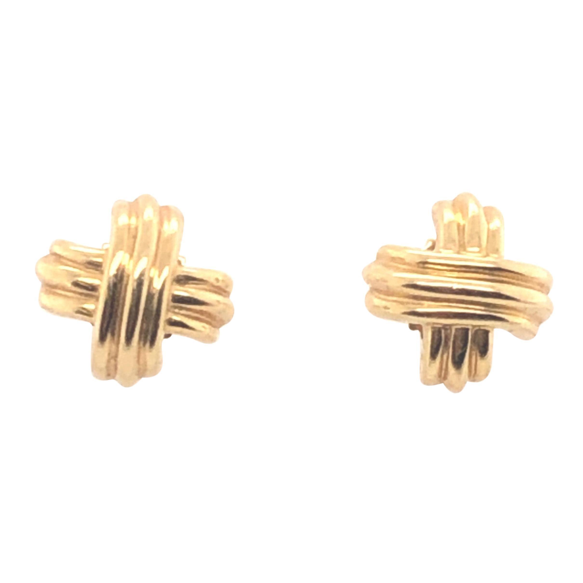 18 Karat Yellow Gold Tiffany & Co. X Earrings