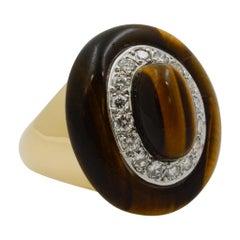 18 Karat Yellow Gold Tiger Eye and Diamond Ring