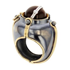 18 Karat Yellow Gold Tiger's Eye and Diamond Scaphandre Ring by Elie Top