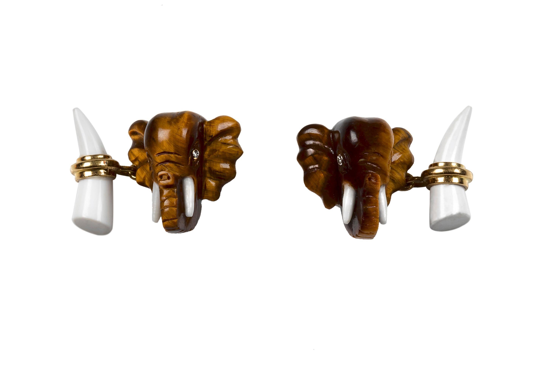 18 Karat Yellow Gold Tiger's Eye Elephant Heads Diamond Cufflinks