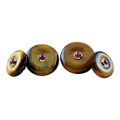 18 Karat Yellow Gold Tiger's Eye Rubies Double Round Cufflinks