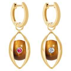 18 Karat Yellow Gold, Tiger's Eye, Ruby, Diamond-The EYE Hoop Earrings