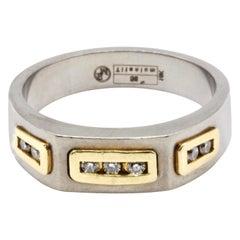 18 Kt Yellow Gold, Titanium and Diamond Gentleman's Ring