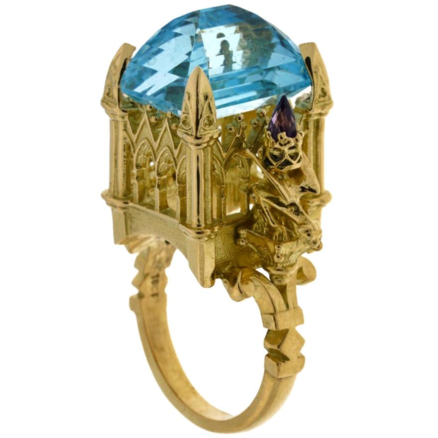 La Gargouille Cathedral Ring 18 Karat Yellow Gold Topaz and Amethyst