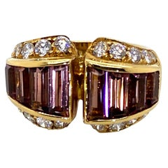 18 Karat Yellow Gold Tourmaline and Diamond Dress Ring