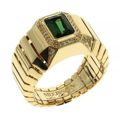 18 Karat Yellow Gold Tourmaline Brown Diamond Male Ring