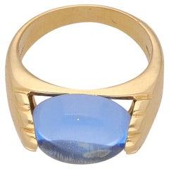 18 Karat Yellow Gold Tourmaline Bulgari Tronchetto Ring