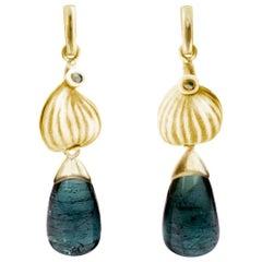 18 Karat Yellow Gold Tourmaline Contemporary Earrings with Diamonds