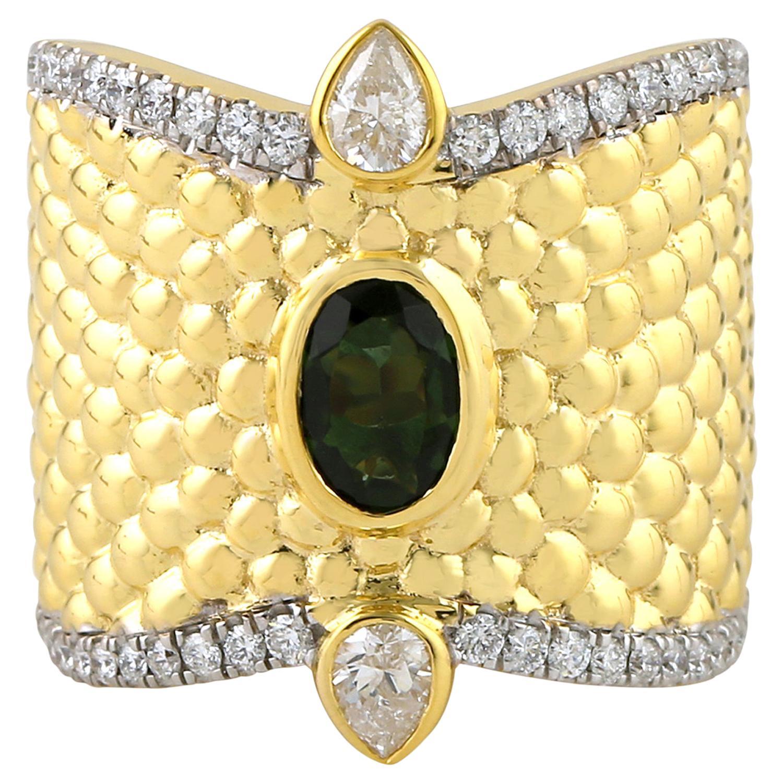 18 Karat Yellow Gold Tourmaline Diamond Ring