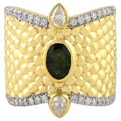 18 Karat Yellow Gold Tourmaline Diamond Ring