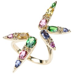18 Karat Yellow Gold Tourmaline Tsavorite Brown Diamond Cocktail Ring