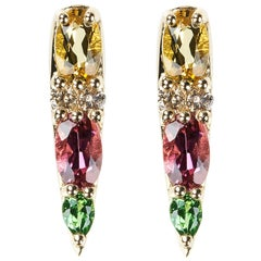 18 Karat Yellow Gold Tourmaline Tsavorite Yellow Beryl Stud Earrings