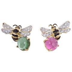 Handcrafted 18 Karat Gold Tourmaline 0.35 Karat Diamond Bees Stud Earrings