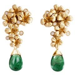 18 Karat Yellow Gold Transformer Drop Earrings with Emeralds and Diamonds