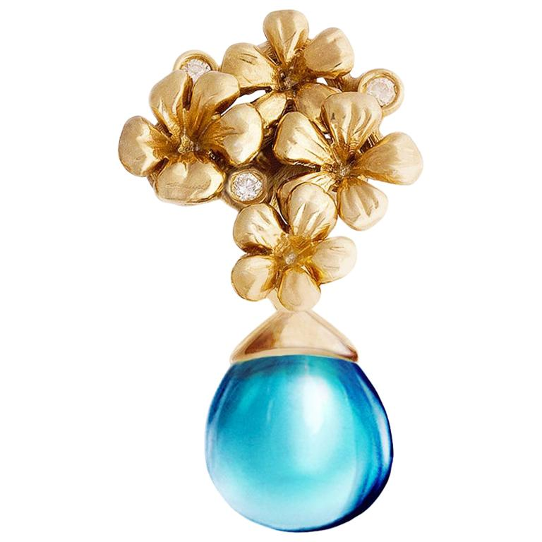 18 Karat Yellow Gold Transformer Drop Modern Brooch with Diamonds and Blue Topaz For Sale