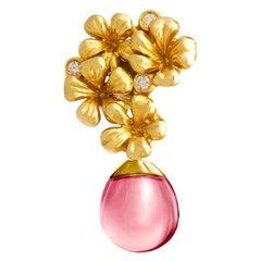 18 Karat Yellow Gold Transformer Pendant Necklace with Diamonds and Rose Quartz