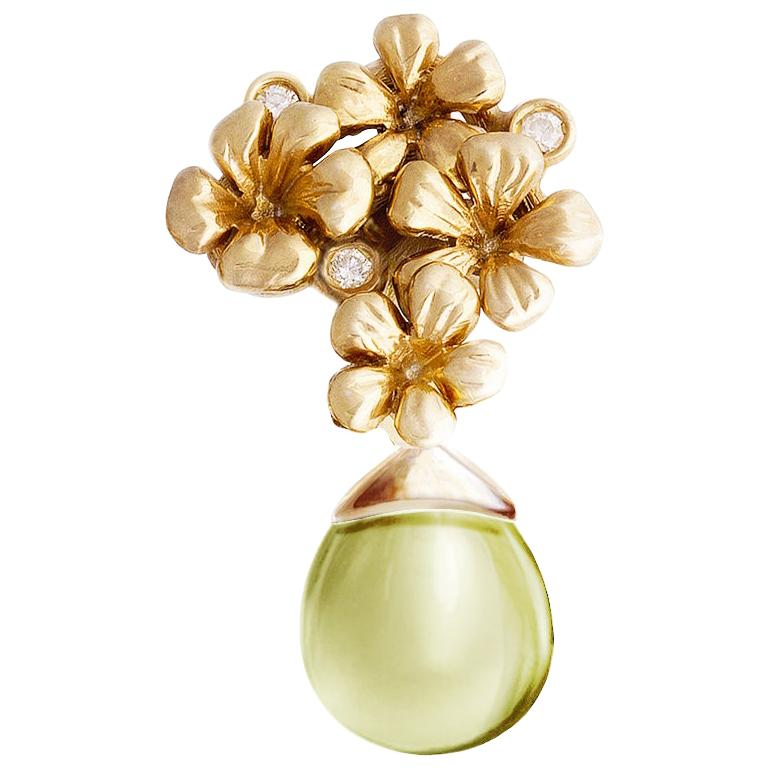 18 Karat Yellow Gold Transformer Plum Blossom Brooch with Diamonds