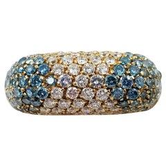 18 Karat Yellow Gold Treated Blue Diamond Ring