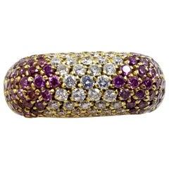 18 Karat Yellow Gold Treated Purple Diamond Ring
