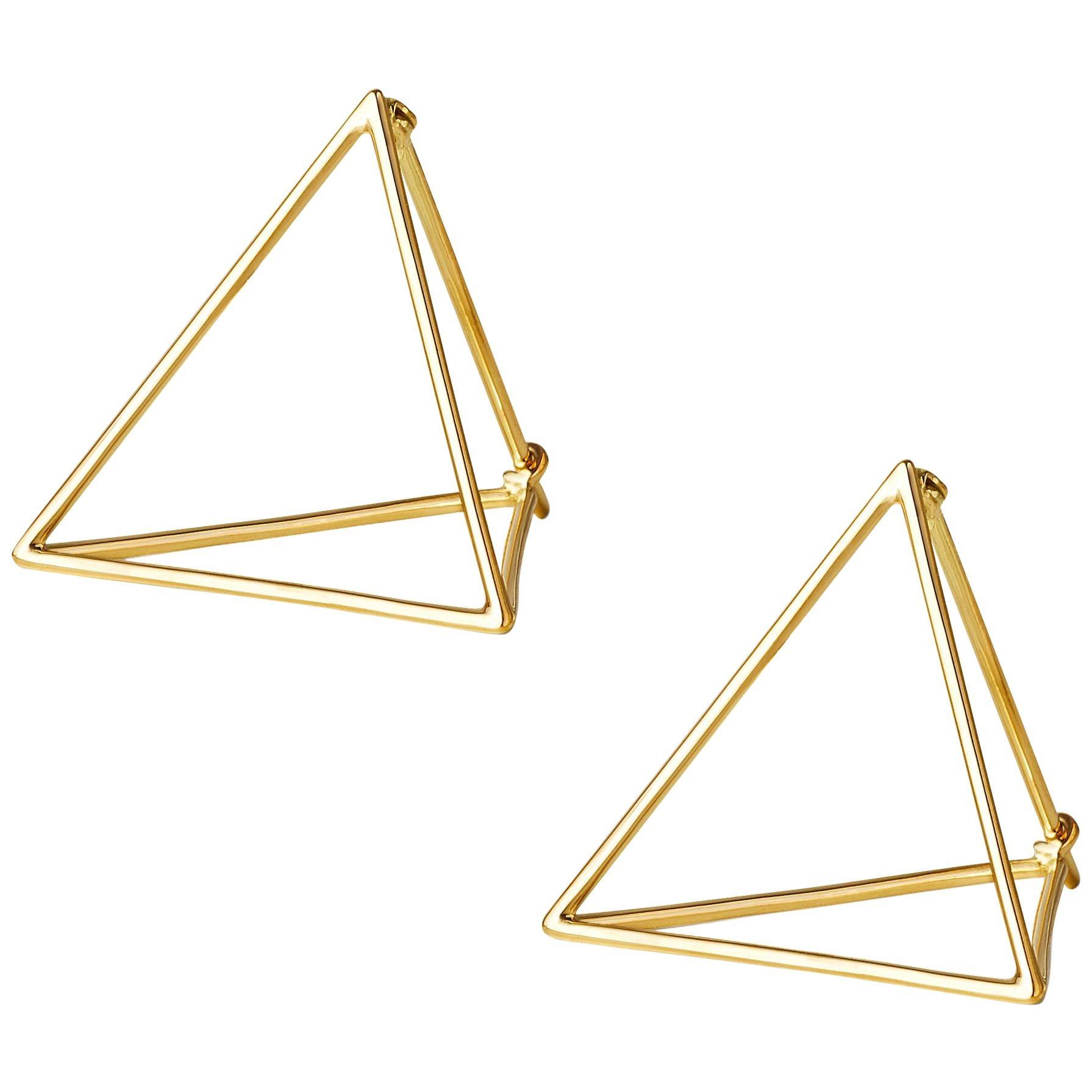 18 Karat Yellow Gold Triangle Pair of Earrings