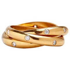 18 Karat Yellow Gold Triple Rolling Ring with Diamonds