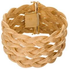 18 Karat Yellow Gold Triple Strand Plaited Woven Bracelet