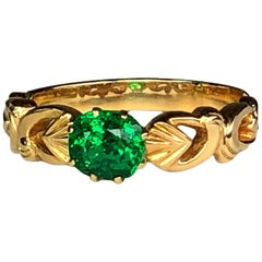 18 Karat Yellow Gold Tsavorite Ring