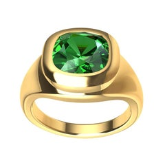 18 Karat Yellow Gold Tsavorite Sculpture Ring