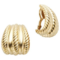 18 Karat Yellow Gold Turi Tapered Half Hoop Earrings