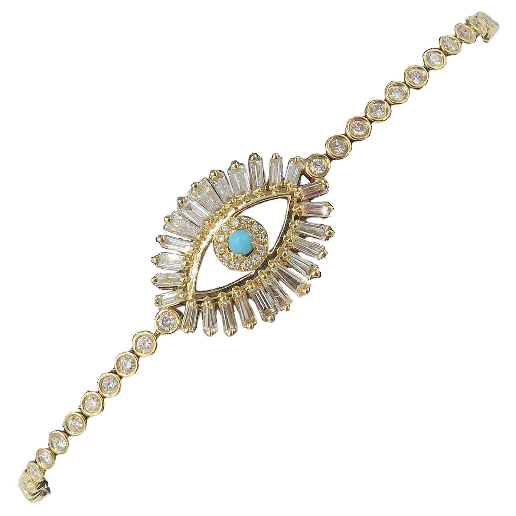 18 Karat Yellow Gold Turquoise and Baguette Diamond Evil Eye Tennis Bracelet