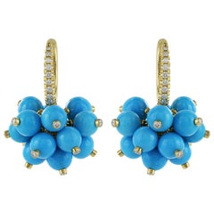 18 Karat Yellow Gold Turquoise and Diamond Earrings