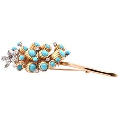 18 Karat Yellow Gold Turquoise and Diamond Flower Pin