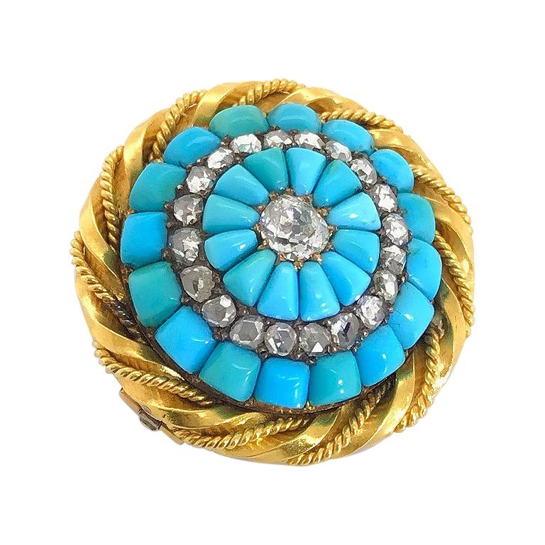 18 Karat Yellow Gold Turquoise and Diamond Set Brooch For Sale