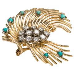 18 Karat Yellow Gold, Turquoise and Diamond Spray Brooch Pin