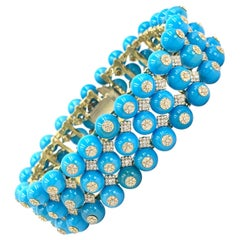 18 Karat Yellow Gold Turquoise and Diamond Wide Bracelet