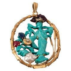 18-Karat Yellow Gold, Turquoise and Gem-Set Pendant
