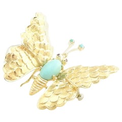 18 Karat Yellow Gold Turquoise and Ruby Butterfly Brooch / Pin