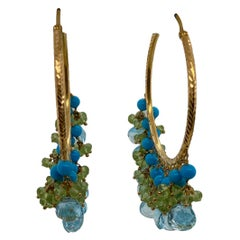 18 Karat Yellow Gold Turquoise, Blue Topaz and Peridot Fashion Hoop Earrings