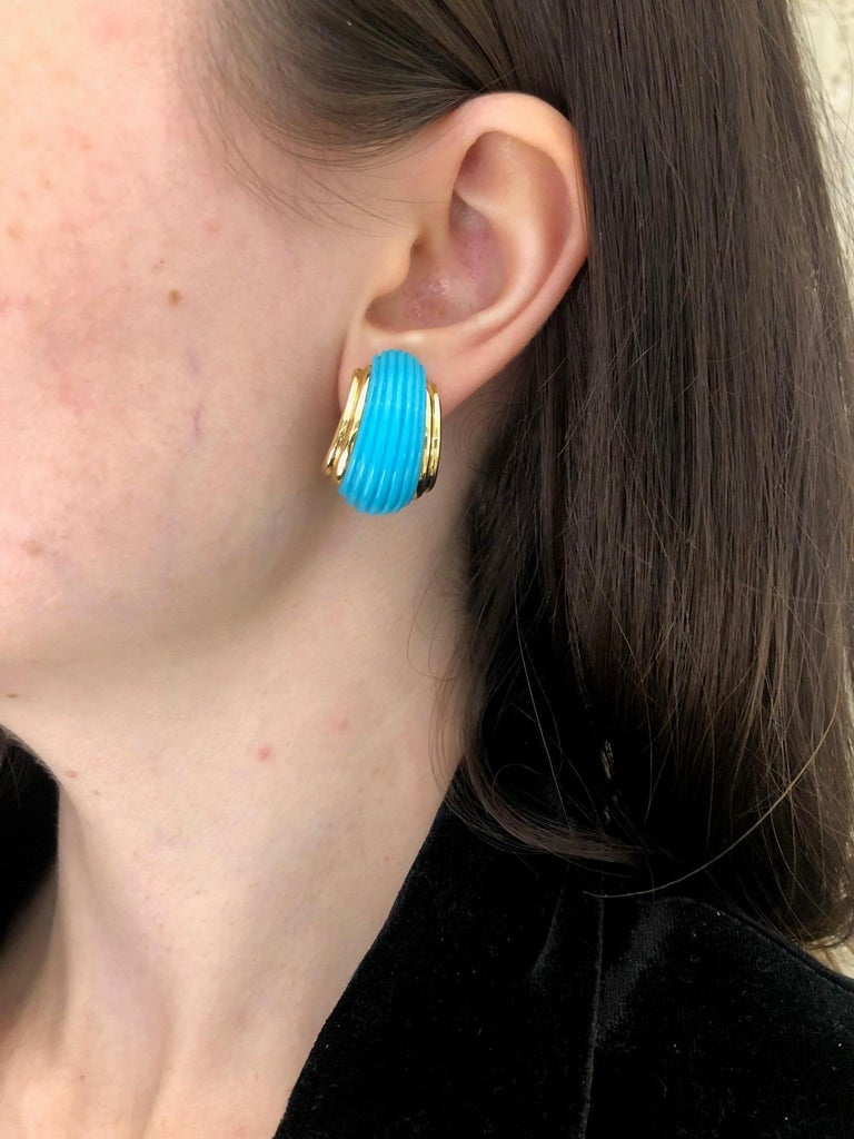 18 Karat Yellow Gold Turquoise Contemporary Clip-On Earrings 6