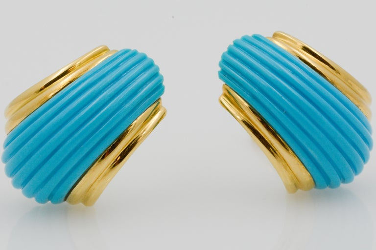 Modern 18 Karat Yellow Gold Turquoise Contemporary Clip-On Earrings