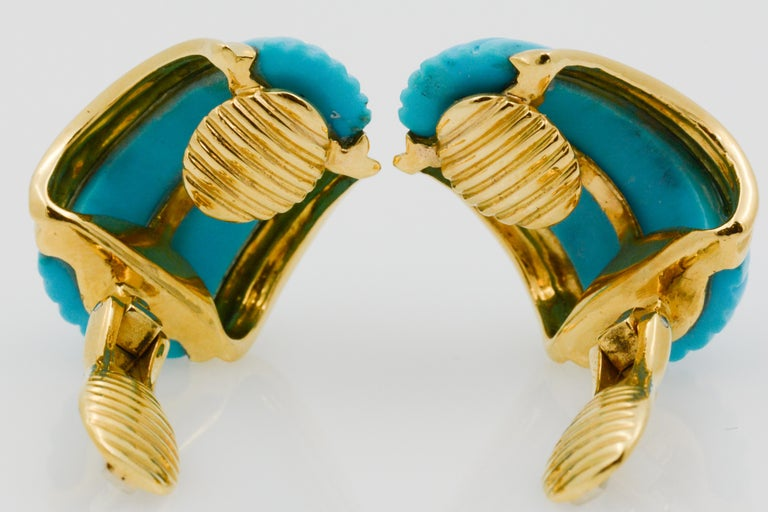 18 Karat Yellow Gold Turquoise Contemporary Clip-On Earrings 4