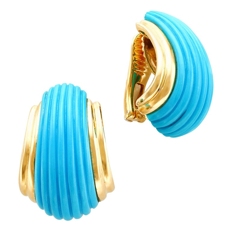 18 Karat Yellow Gold Turquoise Contemporary Clip-On Earrings