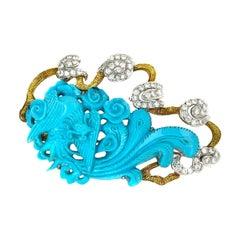 18 Karat Yellow Gold Turquoise Diamond Brooch