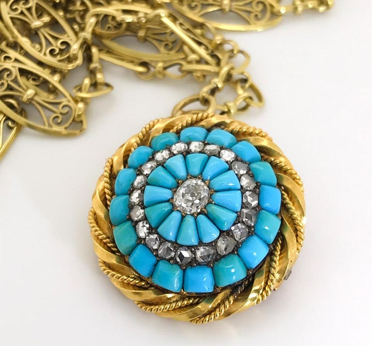 Victorian 18 Karat Yellow Gold Turquoise and Diamond Set Brooch For Sale