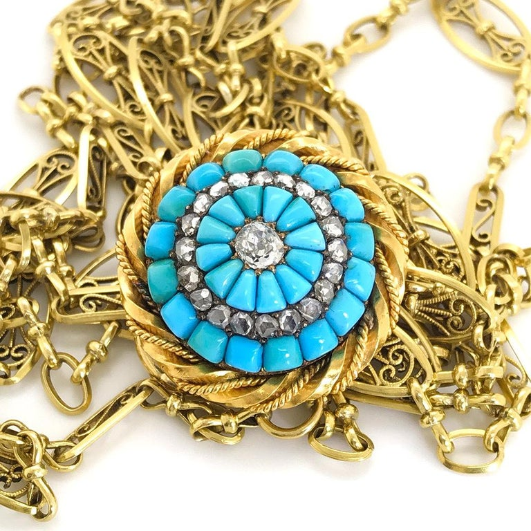 Women's 18 Karat Yellow Gold Turquoise and Diamond Set Brooch For Sale