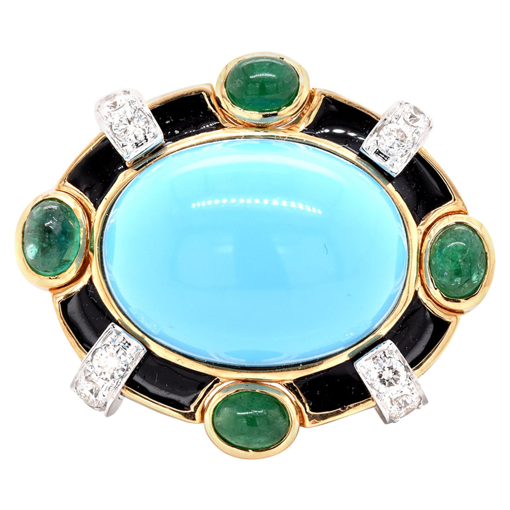 18 Karat Yellow Gold Turquoise, Emerald, Diamond, and Black Enamel Ring
