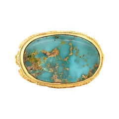 18 Karat Yellow Gold Turquoise Ring
