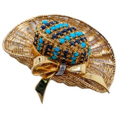 18 Karat Yellow Gold, Turquoise, Sapphire and Diamond Straw Hat Brooch