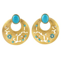 18 Karat Yellow Gold Turquoise Veil Diamond Earrings